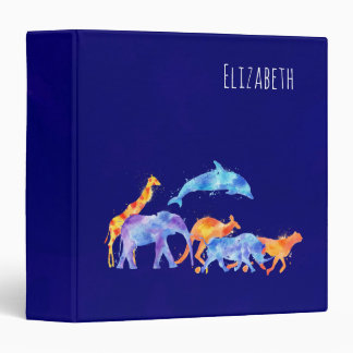 Wild Animal Herd Colorful Watercolor 3 Ring Binder