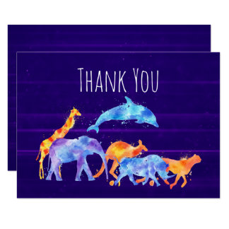 Wild Animal Herd on Purple Abstract  Thank You Card