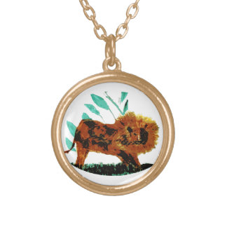 Wild Animal illustration Lion Gold Plated Necklace