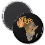 Wild Animal Map of AFRICA Series 2 Inch Round Magnet