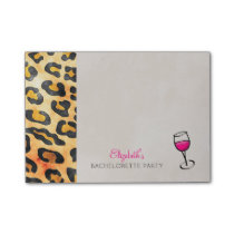 Wild Animal Print and Wine Bachelorette Party Post-it Notes