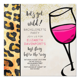 Wild Animal Print and Wine Glass Bachelorette Card