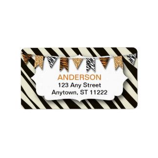 Wild Animal Print Bunting address or favor zebra Label