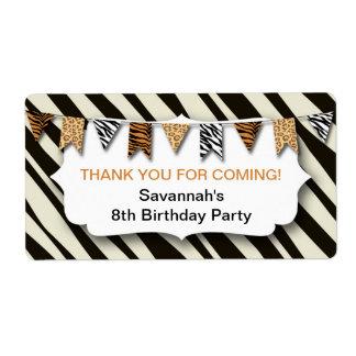 Wild Animal Print Bunting birthday party favor Label