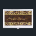 """Wild Animal Print Cheetah with Name Case For Business Cards<br><div class=""""desc"""">For the woman who likes to make a wild impression and loves being boldly feminine,  the cheetah and gold on this animal print business card case matches our coordinating business cards for the lady to show who is really in charge.</div>"""