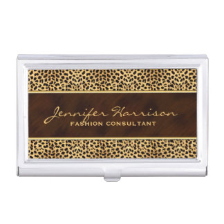 Wild Animal Print Cheetah with Name Case For Business Cards