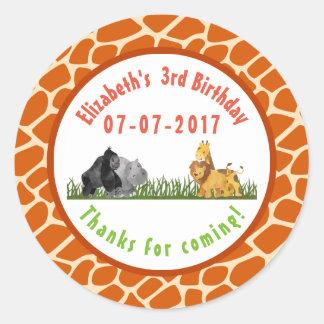Wild Animal Safari Jungle Birthday Thanks Classic Round Sticker