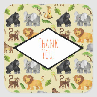 Wild Animal Safari Jungle Pattern Thank You Square Sticker