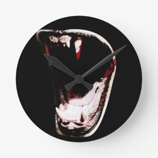 Wild Animal Teeth Fang Round Clock