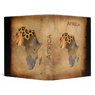 Wild Animal Textures MAP OF AFRICA Binder zazzle_binder