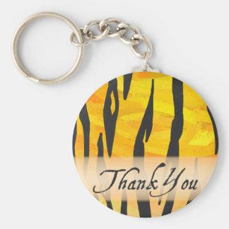 Wild Animal Tiger Stripe Thank You Basic Round Button Keychain