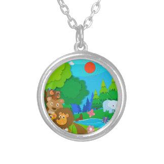 Wild animals in the jungle round pendant necklace