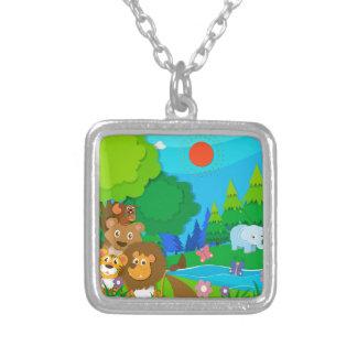 Wild animals in the jungle square pendant necklace