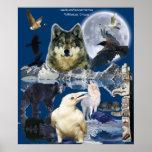 WILD ANIMALS Montage Art Poster