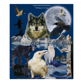 WILD ANIMALS Montage Art Poster