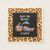 Wild Animals on a Leopard Print Pattern Birthday Paper Napkin