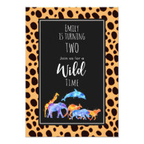 Wild Animals on Exotic Cheetah Print Birthday Invitation