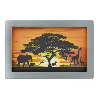 Wild Animals on Savannah Sunset Belt Buckles