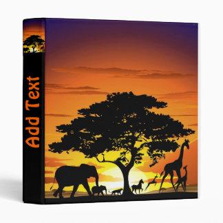 Wild Animals on Savannah Sunset Binder