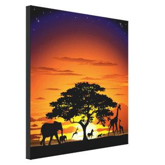 Wild Animals on Savannah Sunset Canvas Print