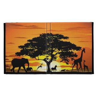 Wild Animals on Savannah Sunset Caseable Case iPad Cases