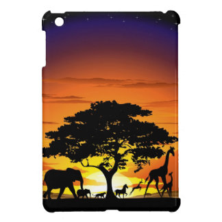 Wild Animals on Savannah Sunset iPad Mini Case