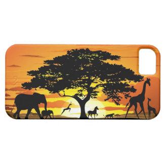 Wild Animals on Savannah Sunset iPhone 5 Cases