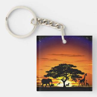Wild Animals on Savannah Sunset keychain