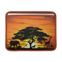 Wild Animals on Savannah Sunset Macbook Sleeve