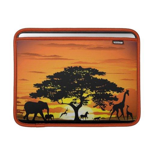 Wild Animals on Savannah Sunset Macbook Sleeve