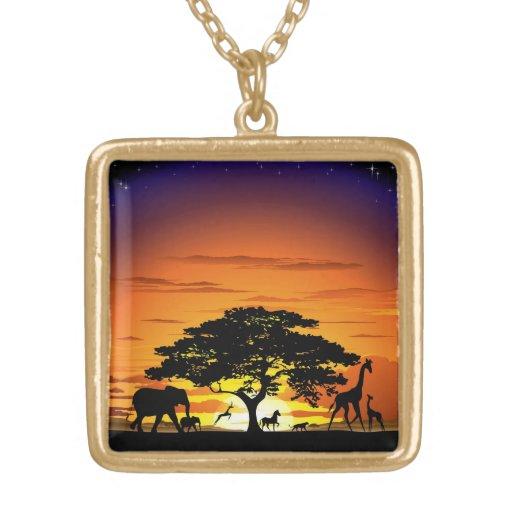 Wild Animals on Savannah Sunset Necklace