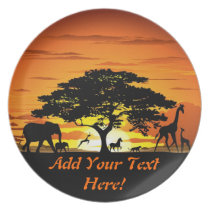 Wild Animals on Savannah Sunset Plate
