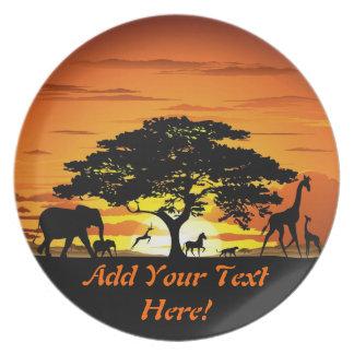 Wild Animals on Savannah Sunset Plate