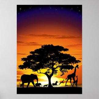 Wild Animals on Savannah Sunset Poster