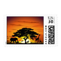 Wild Animals on Savannah Sunset Stamp Postage