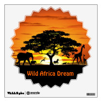 Wild Animals on Savannah Sunset Wall Decal