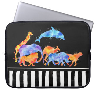 Wild Animals Running Together Colorful Watercolor Computer Sleeve