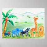 Wild Animals Safari Artwork Poster