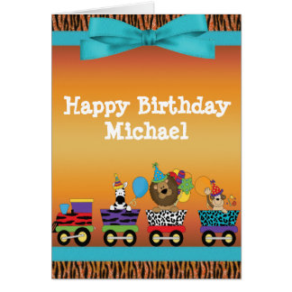Wild Animals Train Ride Tiger Stripes Birthday Greeting Card