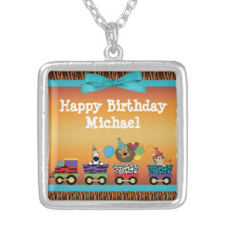 Wild Animals Train Ride Tiger Stripes Birthday Silver Plated Necklace