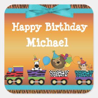 Wild Animals Train Ride Tiger Stripes Birthday Square Sticker