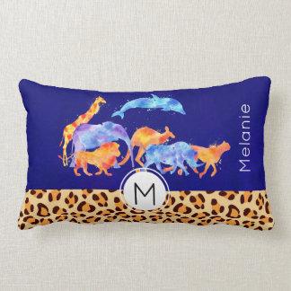 Wild Animals with a Leopard Print Border Monogram Lumbar Pillow