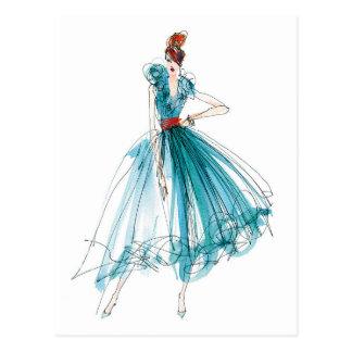 Wild Apple   Haute Couture Fashion Sketch Postcard
