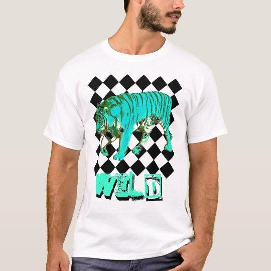 WILD Aqua Blue tiger on black diamond print T-Shirt