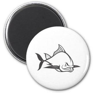 Wild Atlantic Bluefin Tuna Fish in Black and White 2 Inch Round Magnet