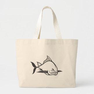 Wild Atlantic Bluefin Tuna Fish in Black and White Tote Bags