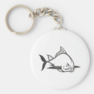 Wild Atlantic Bluefin Tuna Fish in Black and White Basic Round Button Keychain