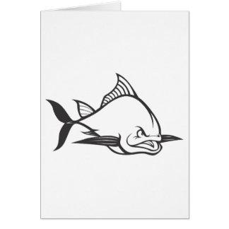 Wild Atlantic Bluefin Tuna Fish in Black and White Card