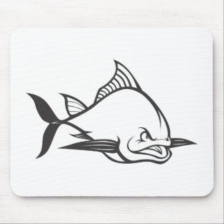 Wild Atlantic Bluefin Tuna Fish in Black and White Mouse Pad