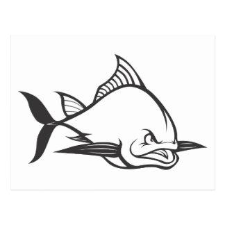 Wild Atlantic Bluefin Tuna Fish in Black and White Postcard